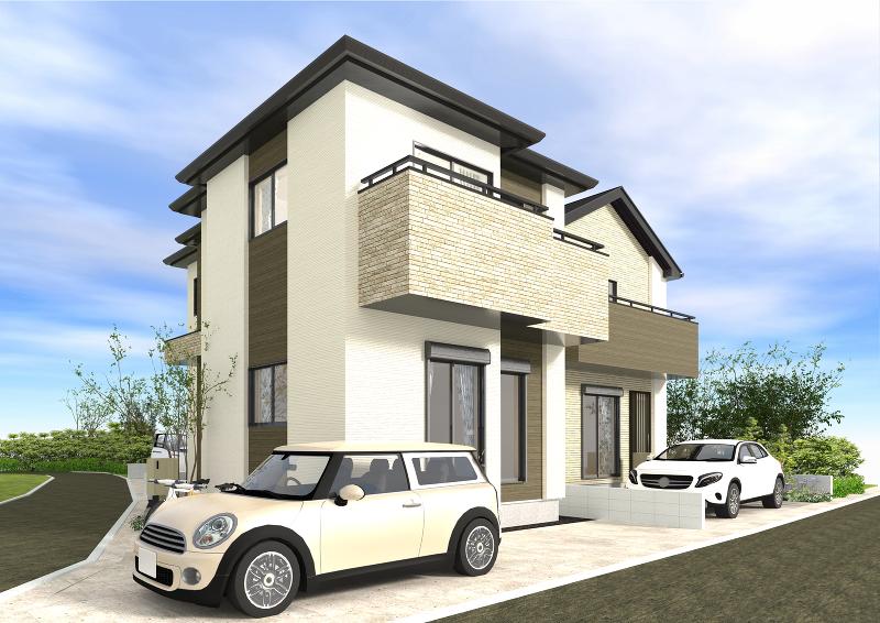 1号棟イメージパース。建築条件ございませんのでお好きなハウスメーカーで建築出来ます。