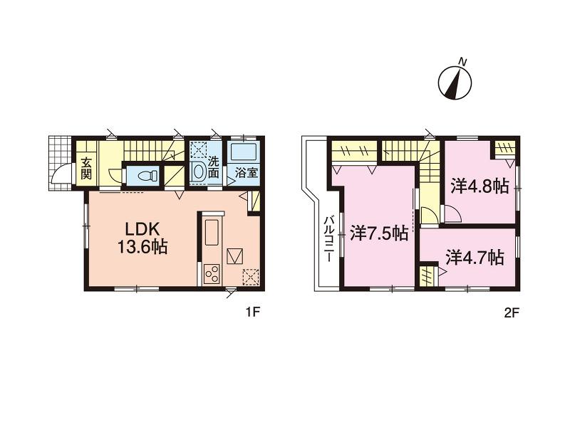1号棟参考プラン建築条件ございませんのでお好きなハウスメーカーで建築出来ます。