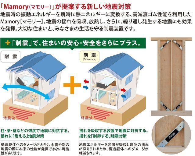 繰り返す地震に効果を発揮する「MAMORY」特殊なゴムの力で地震の揺れを吸収、低減し、住宅の損傷を大幅に抑えます。