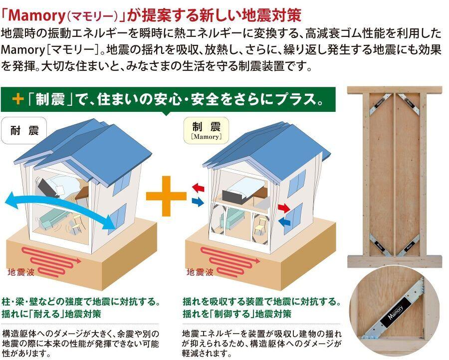 制震装置マモリー 繰り返す地震に効果を発揮する「MAMORY」特殊なゴムの力で地震の揺れを吸収、低減し、住宅の損傷を大幅に抑えます。