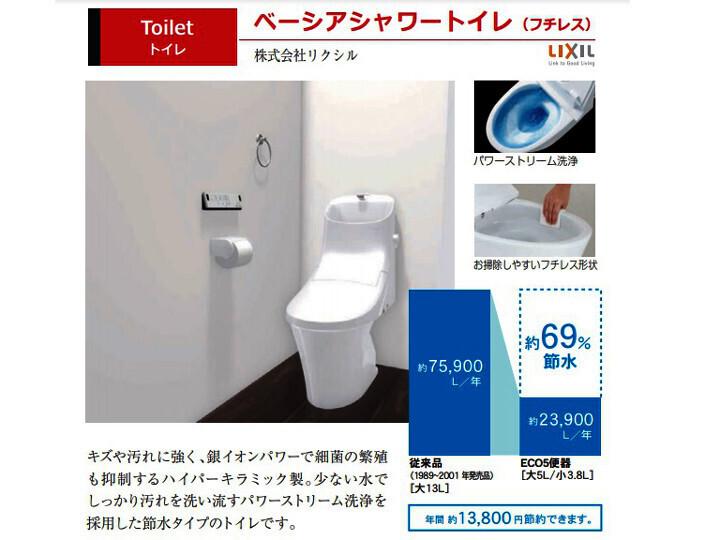 ベーシアシャワートイレ:傷汚れに強く、銀イオンパワーで最近の繁殖を抑制するハイパワーキラミック製。