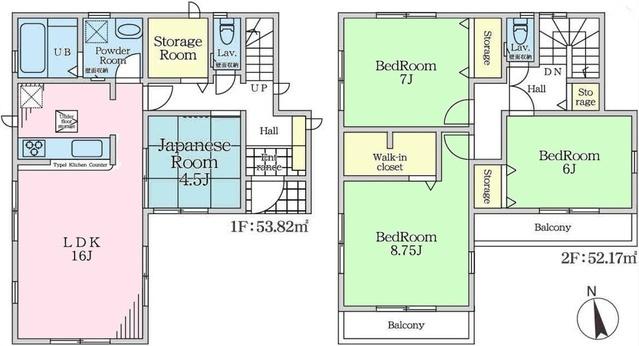 土地面積:111.68平米、 建物面積:105.99平米、 4LDK+バルコニー