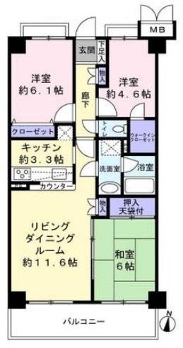 専有面積:68.64平米、 バルコニー面積:9.36平米、 3LDK+バルコニー、 新規リノベーション物件の為、すぐにお住まいになれます。