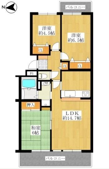 専有面積:68.44平米、 バルコニー面積:11.94平米、 3LDK+バルコニー、 新規リフォーム済みの為、すぐにお住まいになれます。