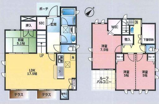 土地面積:120.00平米、 建物面積:106.61平米、 4LDK+ルーフバルコニー、 全室2面採光につき陽当り・通風良好。 収納豊富な間取りでスッキリとした空間。