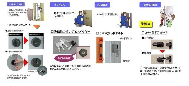 ダブルロック玄関錠・ディンプルキー・鎌デッド錠。 ピッキング犯罪を防止する防犯型玄関錠です。