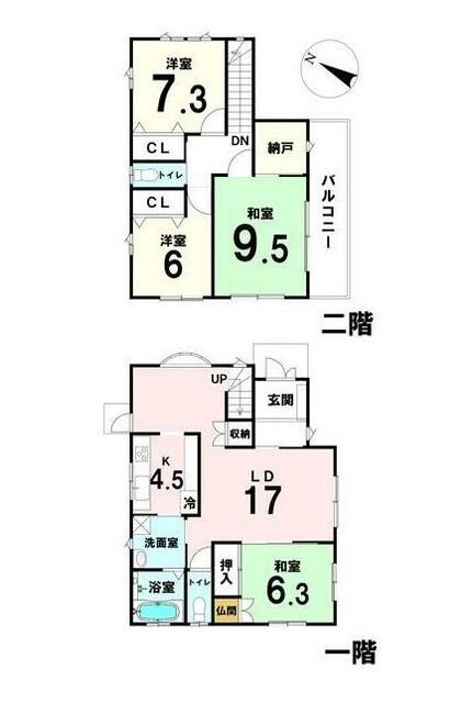 土地面積:178.73平米、 建物面積:123.00平米、 4SLDK+バルコニー、 南東向きにつき日当たり良好。 人気のリビングイン階段採用。 全居室6帖以上確保のゆったりとした空間です。