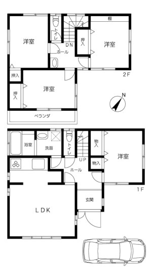土地面積:102.03平米、 建物面積:92.33平米、 4LDK+バルコニー、 内外装リフォーム済みの為、すぐにお住まいになれます。