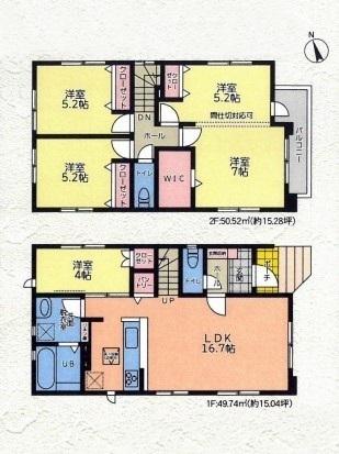 土地面積:102.40平米、建物面積:100.26平米、4(5)LDK+バルコニー