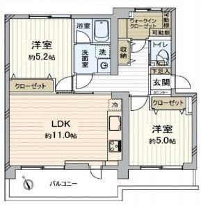 専有面積:56.65平米、バルコニー面積:8.12平米、2LDK+バルコニー