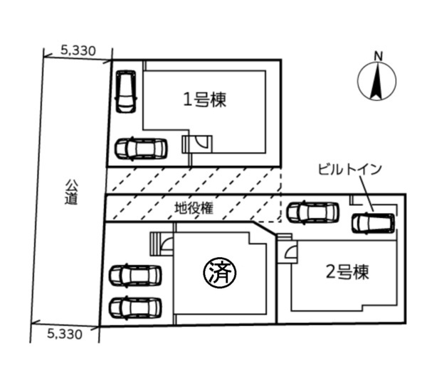 駐車スペース2台駐車可能です。